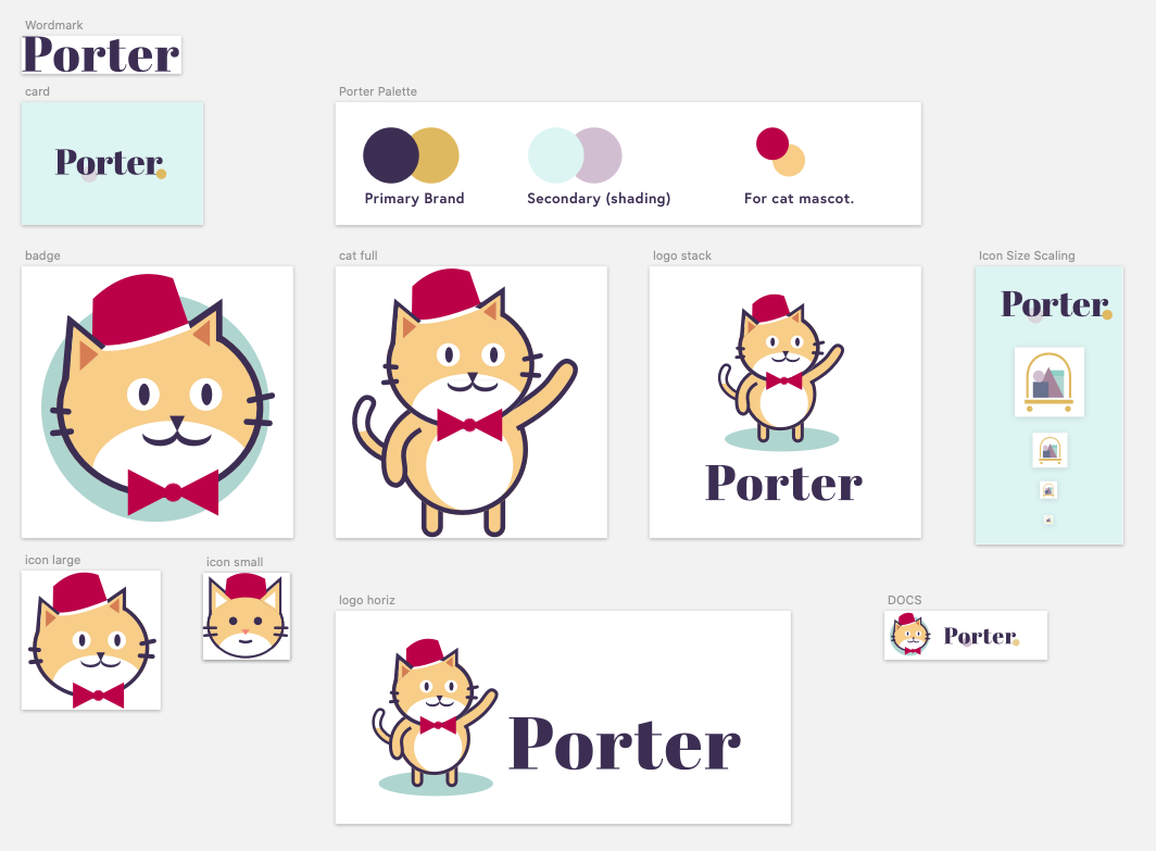 example images of the Porter brand: Abril font, twitter card, color palette, badge, cat full, logo vertical stack, scaling the icon, logo horizontal