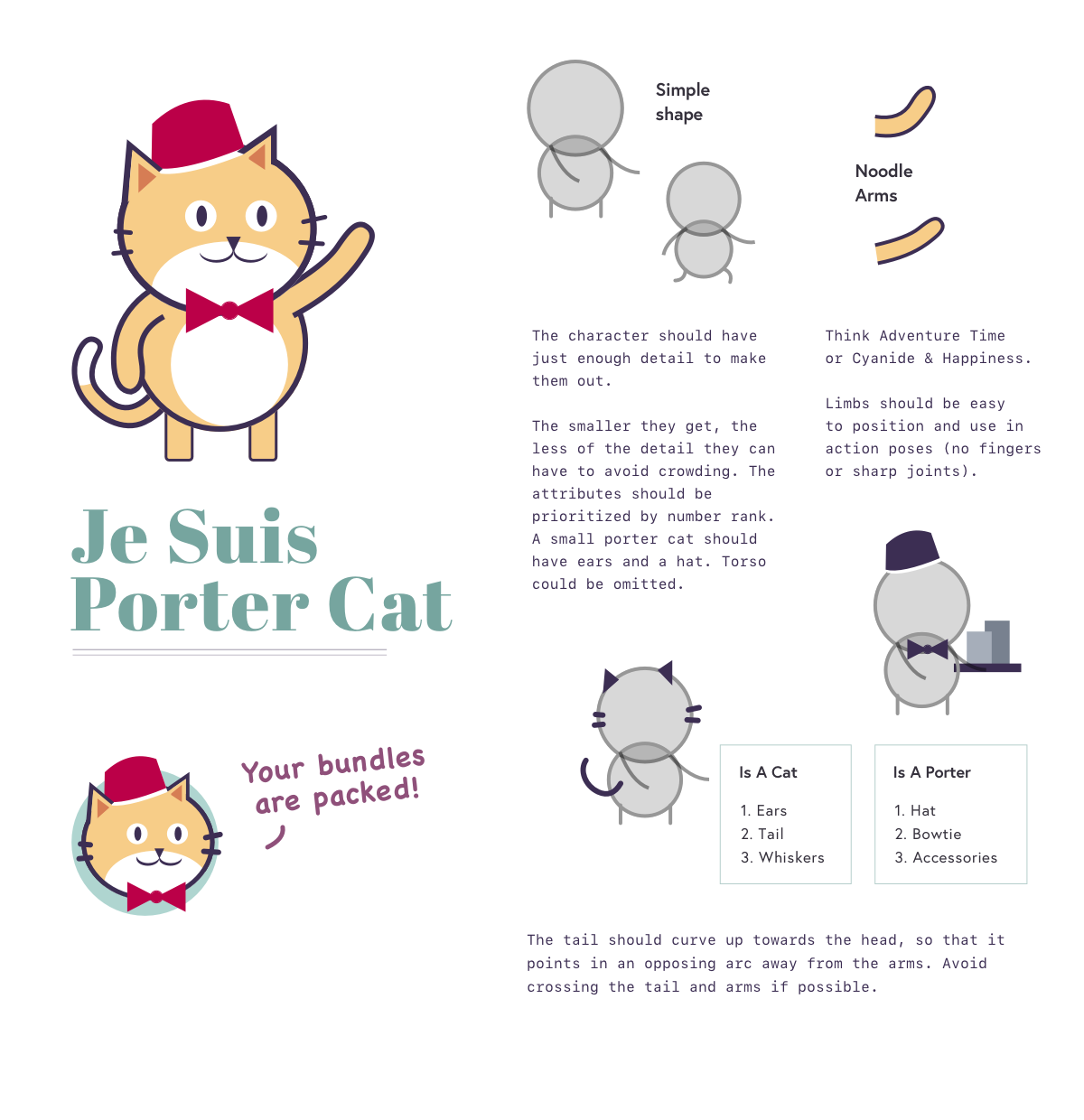 """Je Suis Porter Cat: Yellow cat standing and waving, wearing a red bellhop hat and bowtie. Underneath is a picture of the cat's face saying """"your bundles are packed!"""". To the side is a repeat of the guidelines below for drawing the Porter Cat mascot"""