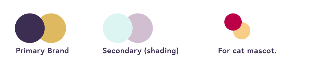 Porter color palette demonstrating the primary brand colors, secondary (shading), and the cat mascot colors