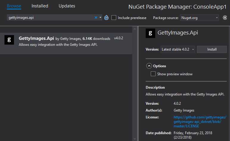 Add nuget package reference