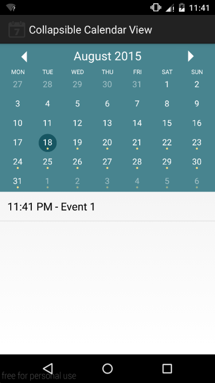 GitHub - gfranks/CollapsibleCalendarView: Android calendar