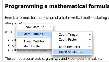 Scale mathematical formulae
