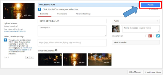 Proses Upload Youtube