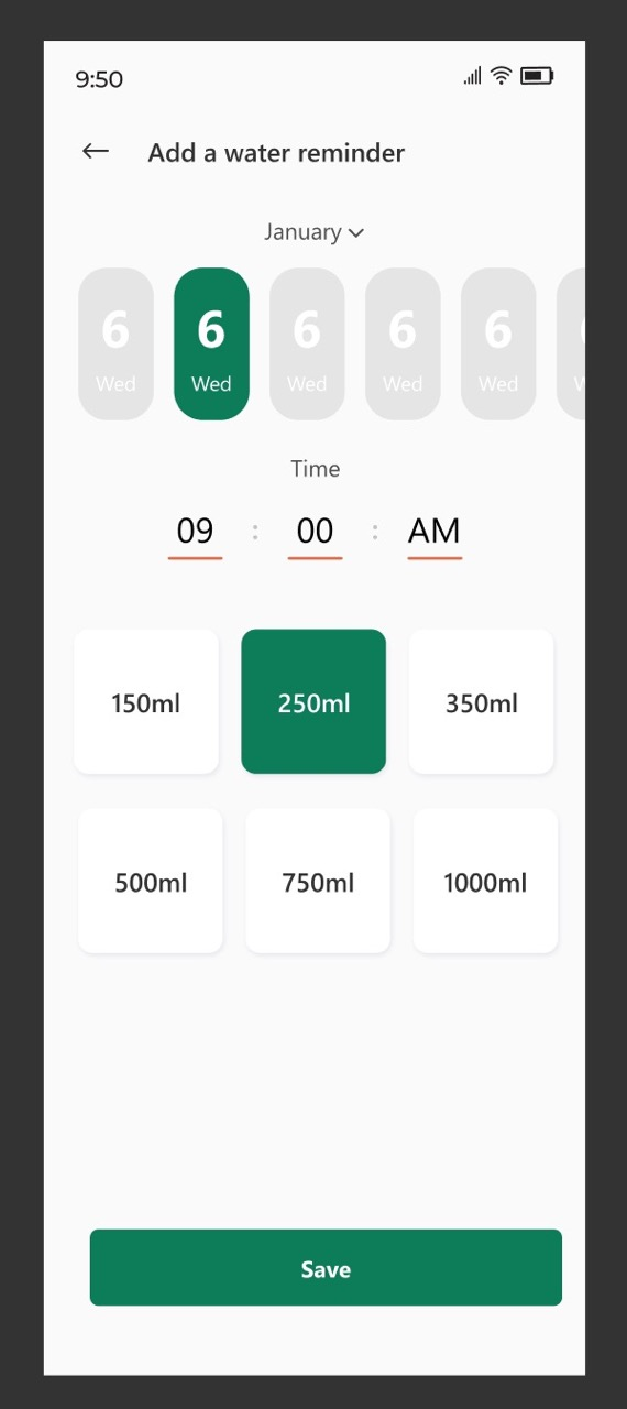Application of timewheel widget in water reminder app
