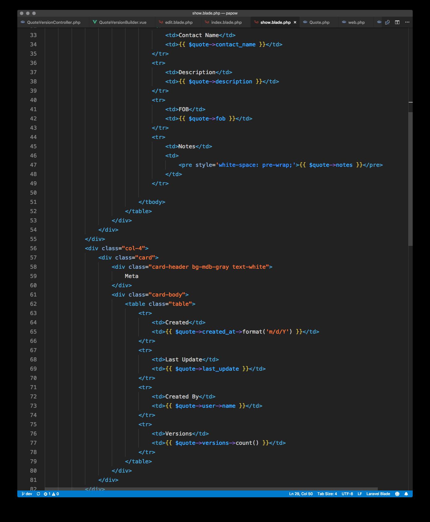 HTML/Blade