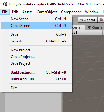 Menu File --> Open Scene