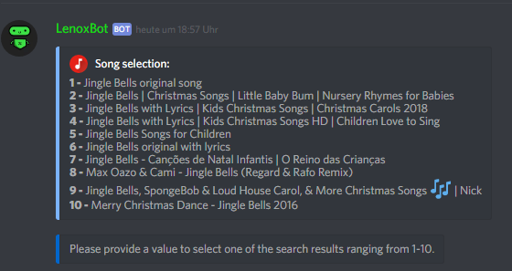 Here you musst choose a number of the song selection
