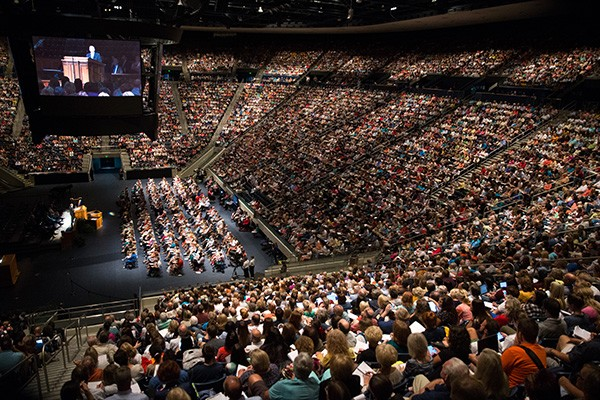 The marriott center during a devotional