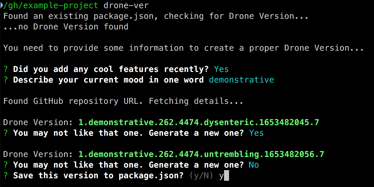 Example screenshot of using drone-ver on the command line