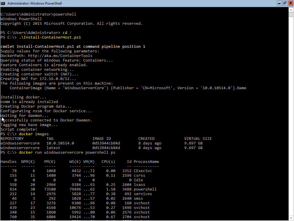 Running Windows Server 2k16 with Docker under Linux, KVM or