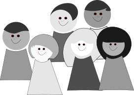 Community of five figures: 3:2 short to long hair; 3:2 white to non-white skin
