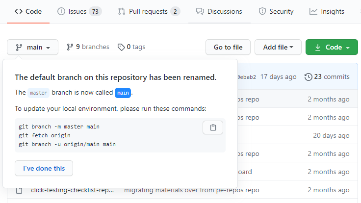 Prompt to update local Git configuration