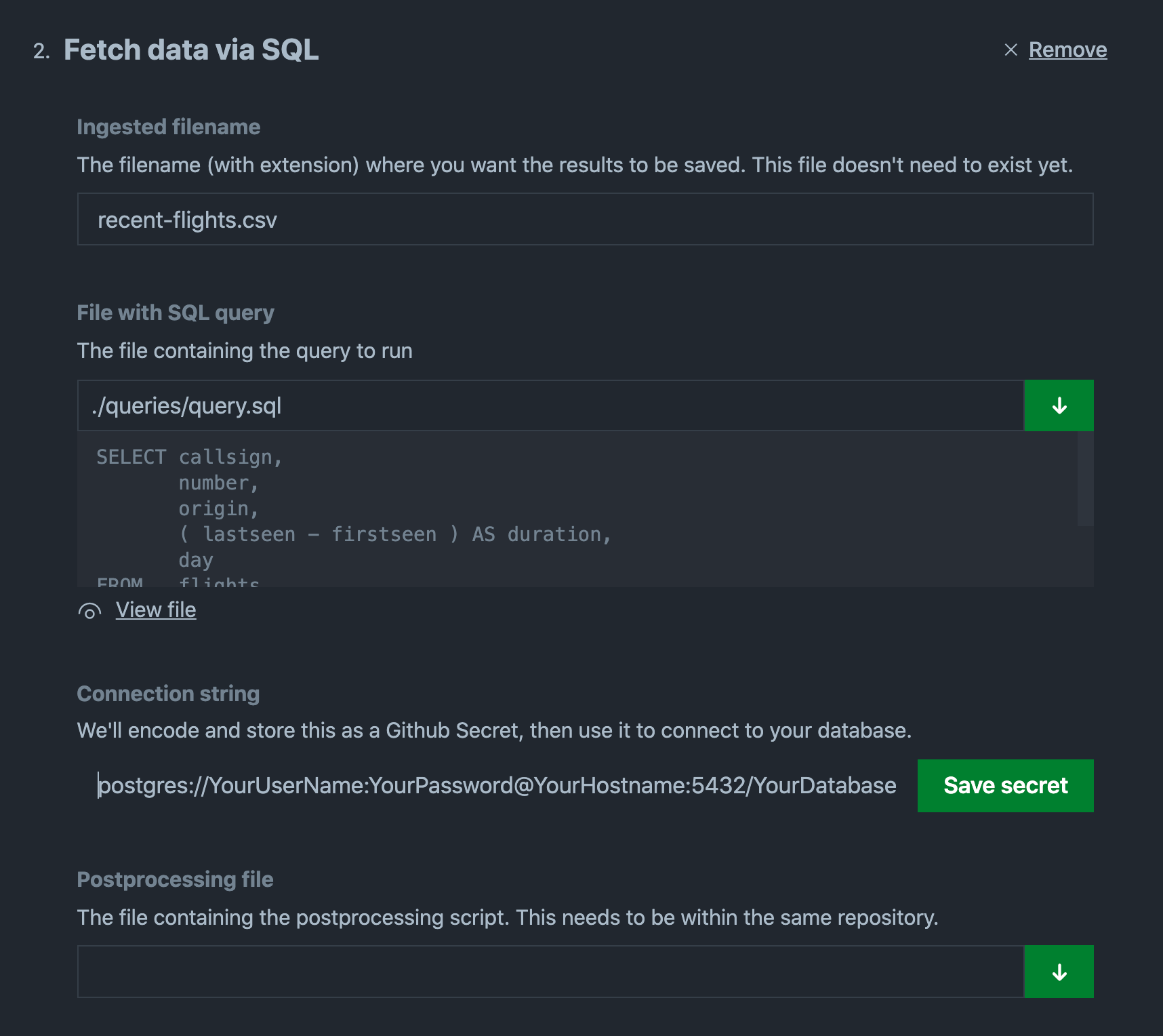 Screenshot of SQL creation view for Flat extension