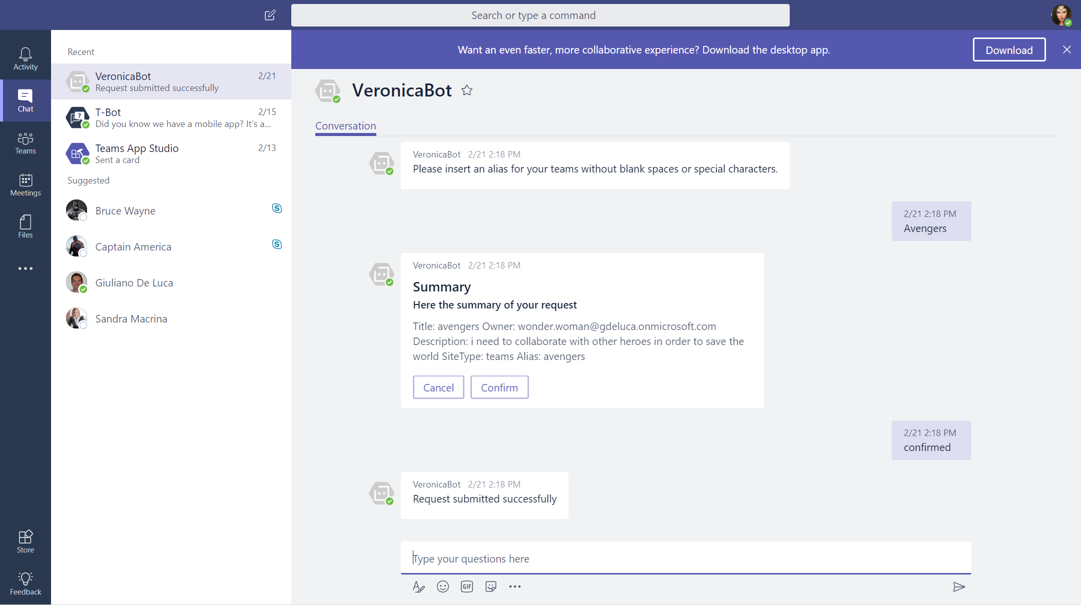 This sample demonstrates how to integrate a typical enterprise scenario where the user can submit a creation's request for a new SharePoint team site, communication site or a Microsoft team through a node.js Bot (App Only) which is available on Teams, Sky