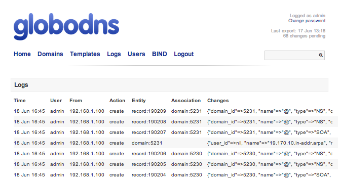 Listing lasts actions on Dns-Api
