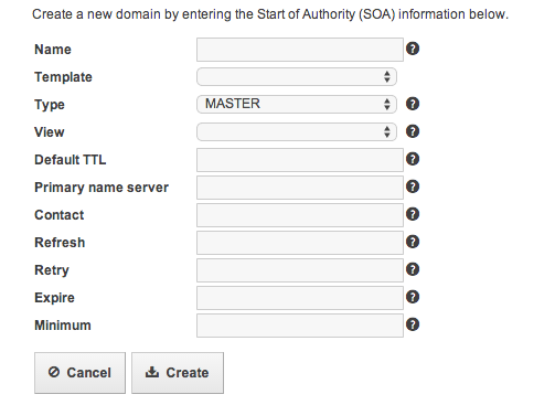 Add a new domain form