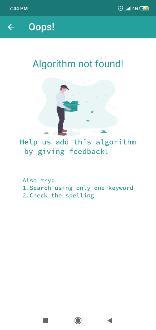 Error page if algorithm is not found