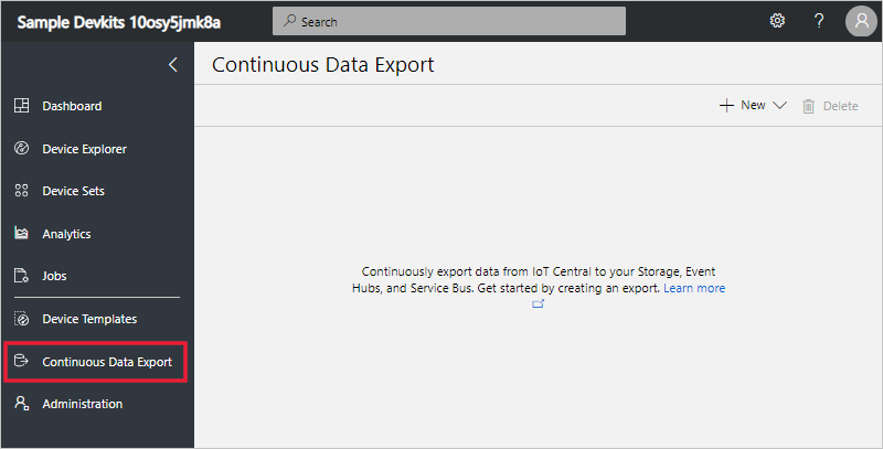 Continuous Data Export page