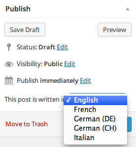Publish Post Meta Box with proposed language select field (expanded)