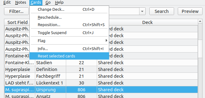Reset Card Scheduling - AnkiWeb