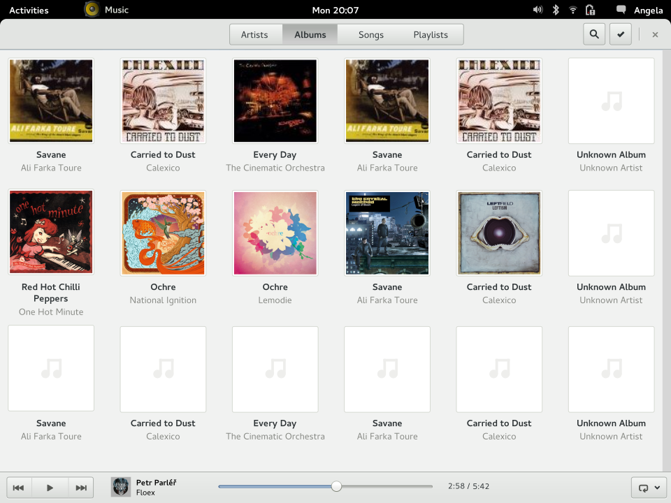 GNOME Music's mockup showing a smaller icon on the top panel, via GNOME Wiki