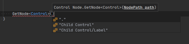 Nodes code completion