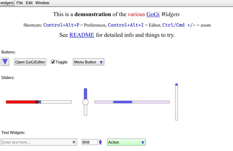 Screenshot of Widgets demo