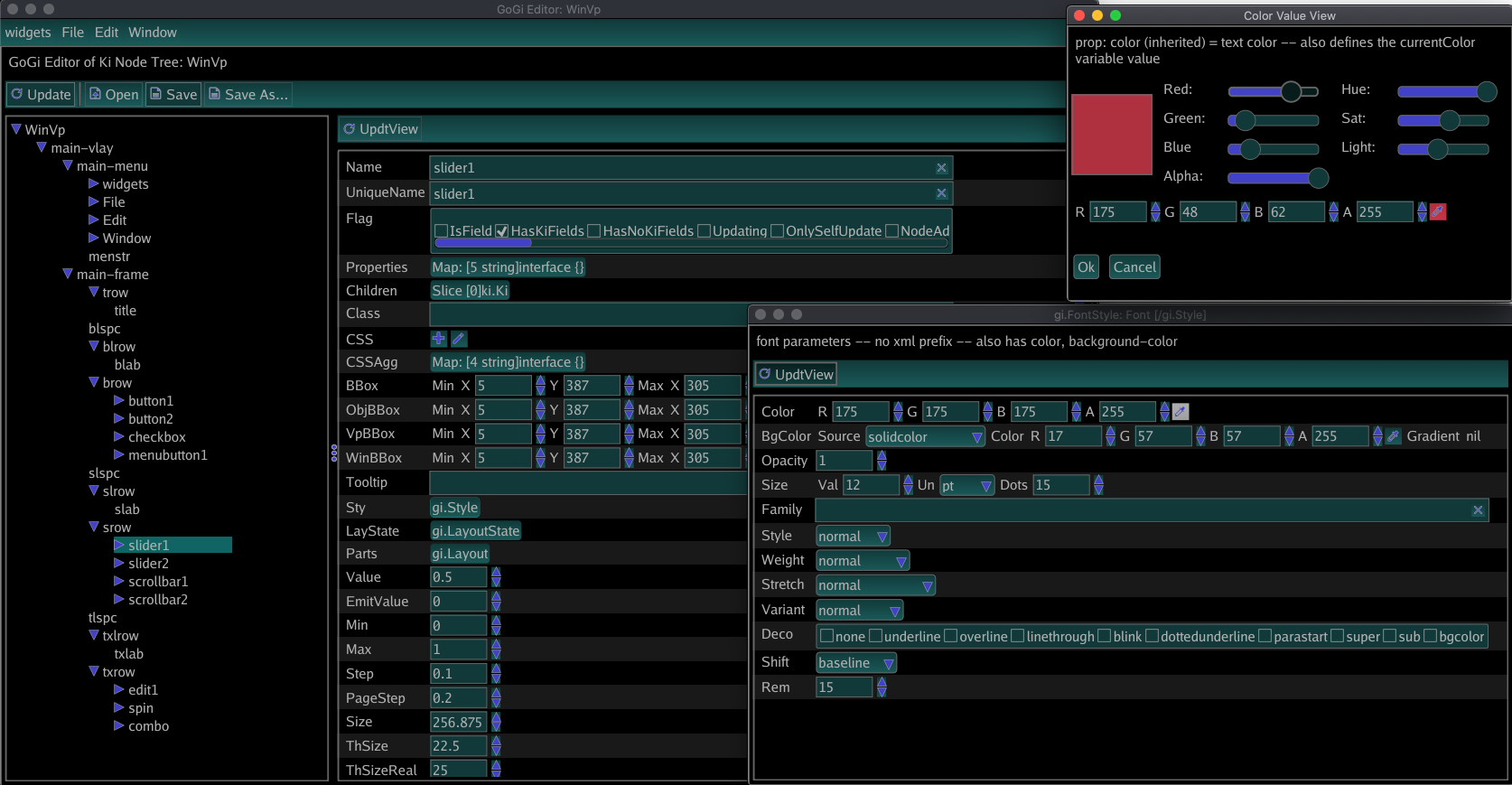 Screenshot of GiEditor, Dark mode