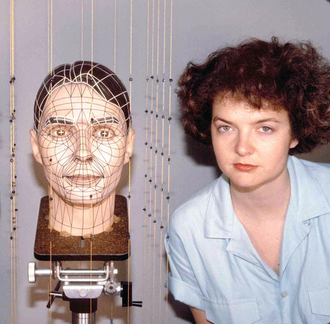 Rebecca Allen with head digitizing rig