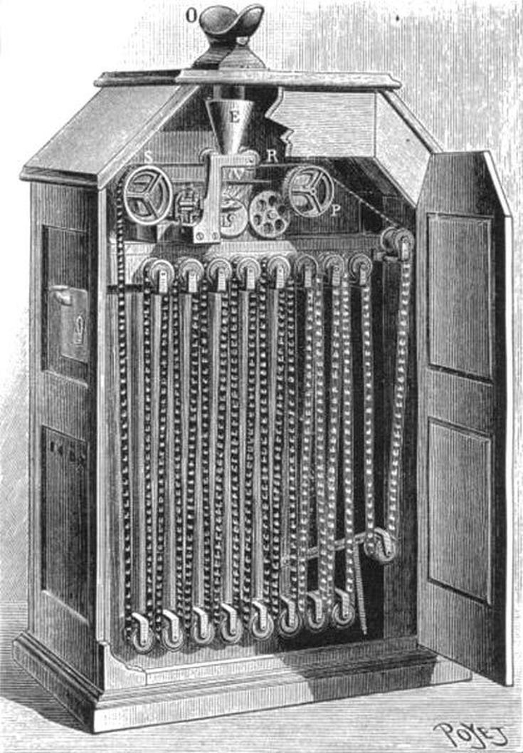 Kinetoscope with interior, showing film loop