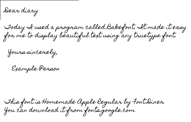 Example bakefont3 handwriting font