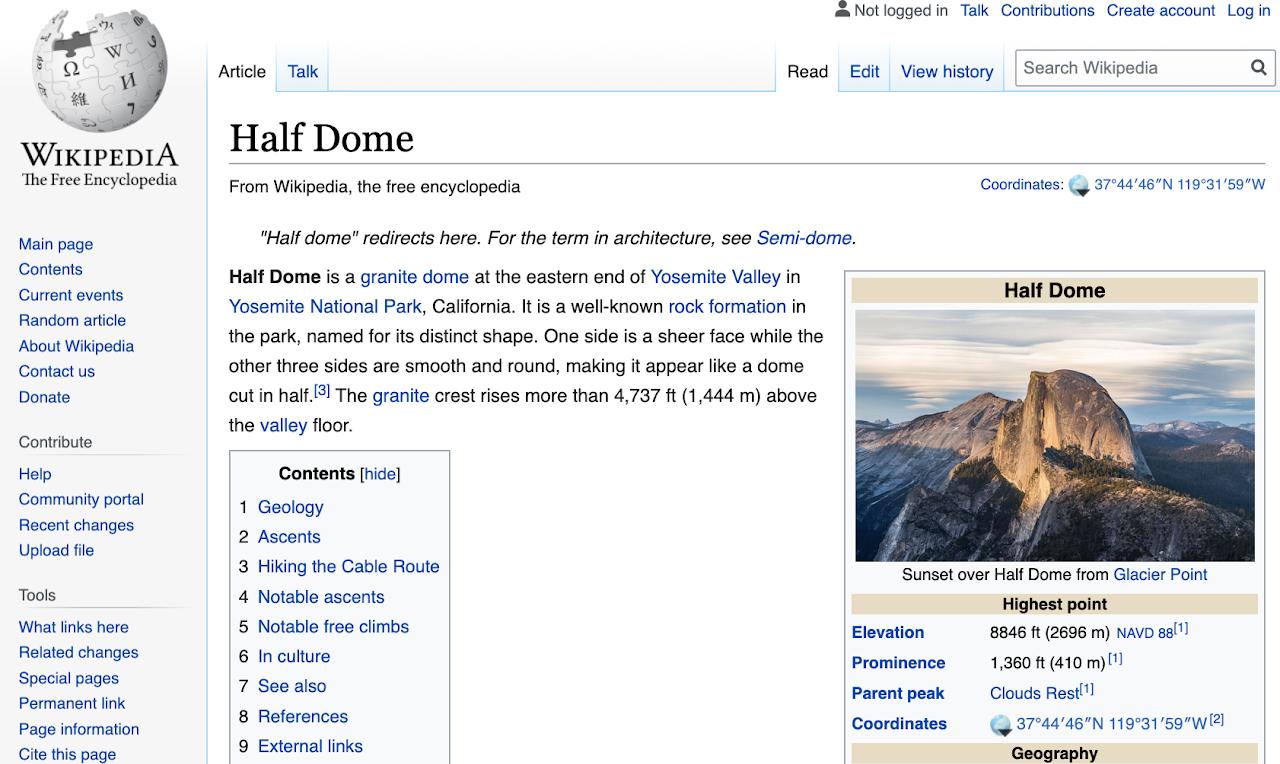 WIT Wikipedia Half Dome Image