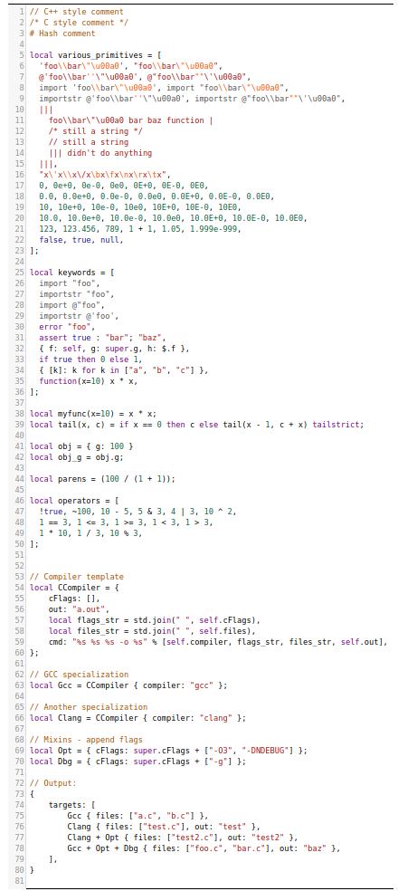 A screenshot of Jsonnet syntax highlighting