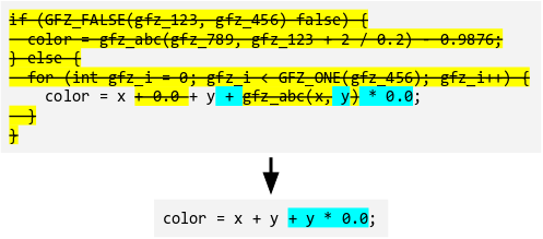 The same source code, the majority of which is highlighted in yellow and striked out, but parts of one statement remain.