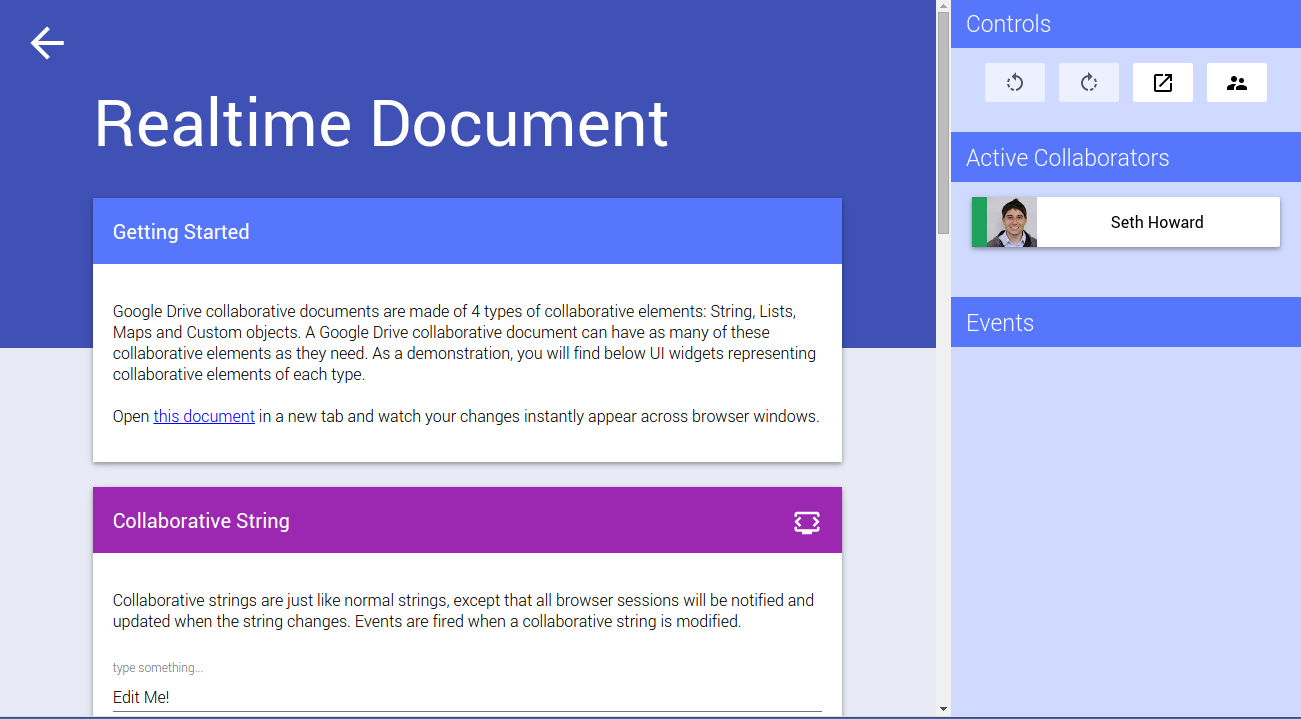 Google Drive Realtime API Playground Screenshot