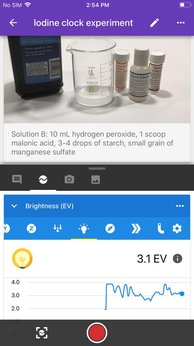 iOS screenshot showing `Iodine Clock` experiment.