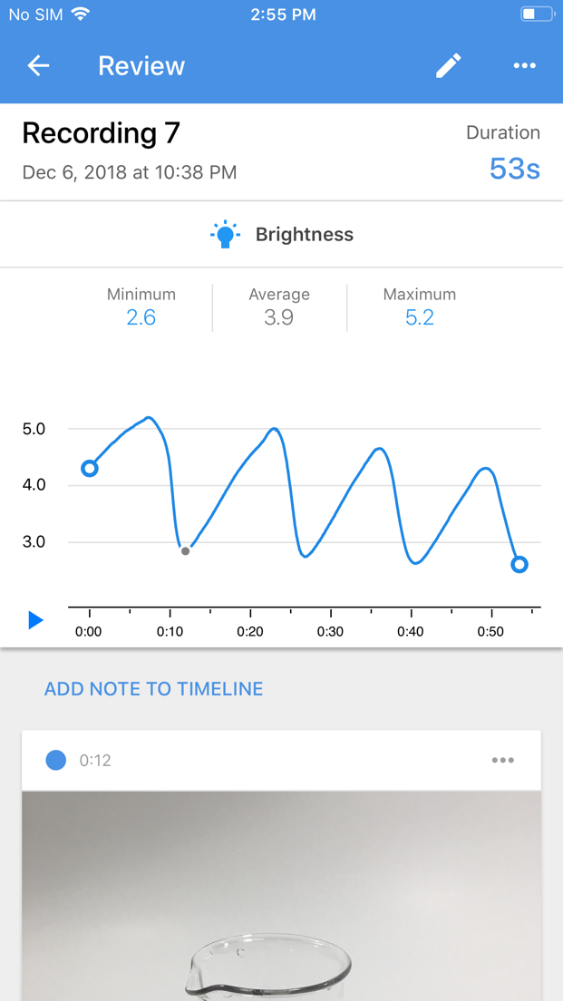 iOS screenshot showing `Iodine Clock` recording with notes alongside brightness sensor with various values.