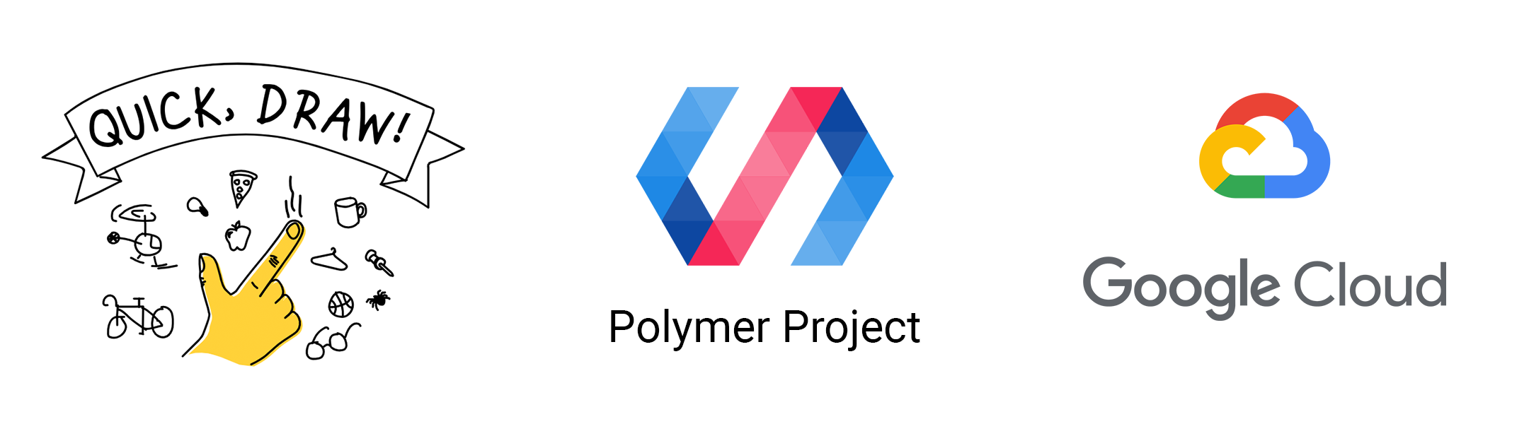 logos for Quick, Draw! and the Polymer Project and Google Cloud