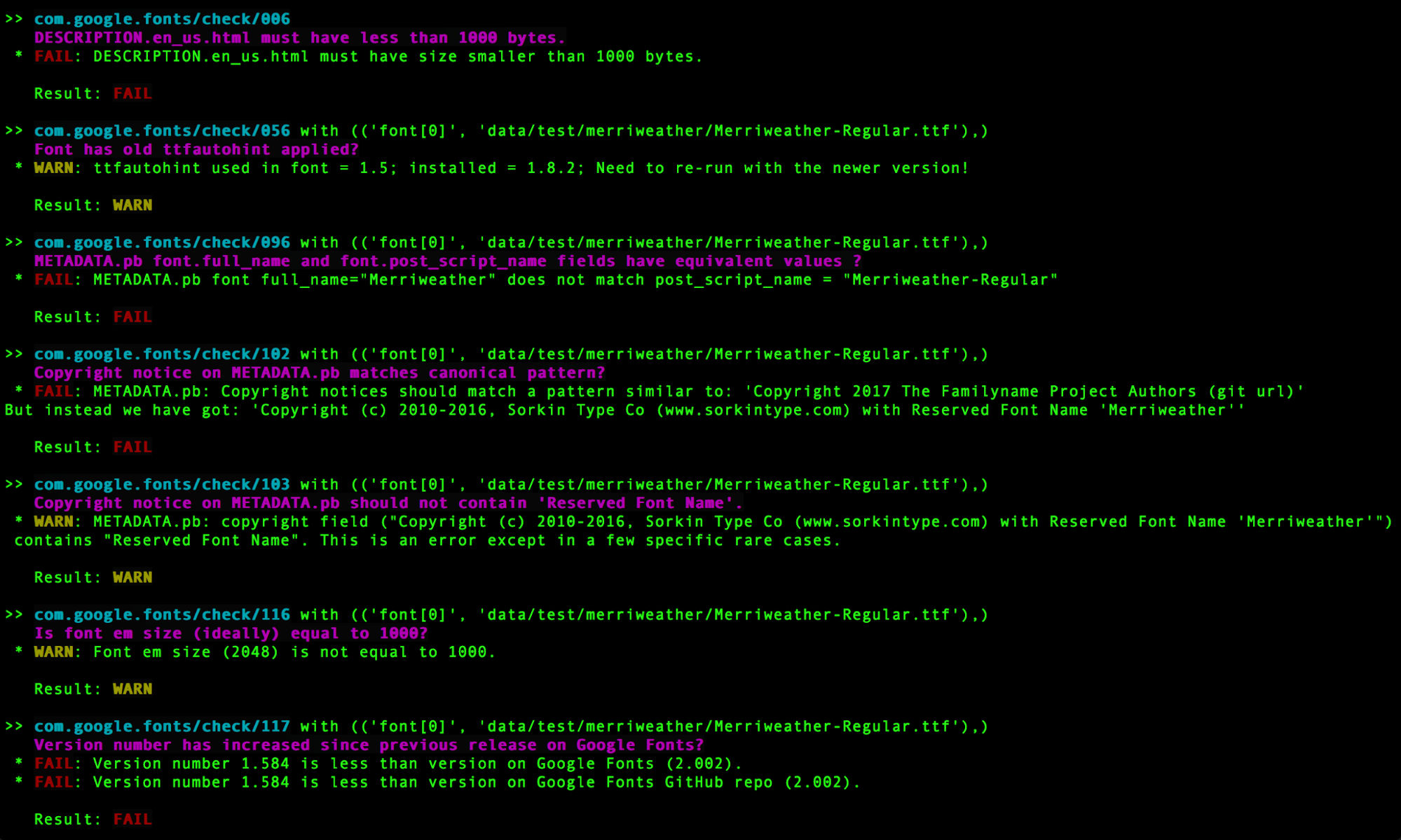 Screenshot of a typical Font Bakery command-line output in the Terminal app.