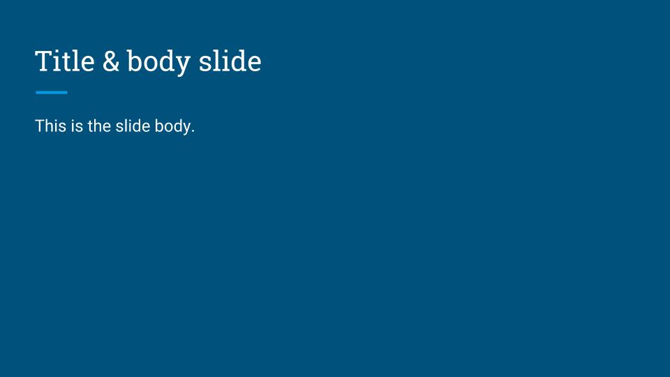 Title & body slide
