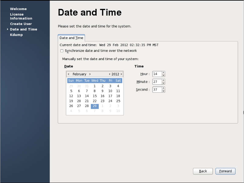firstboot date and time