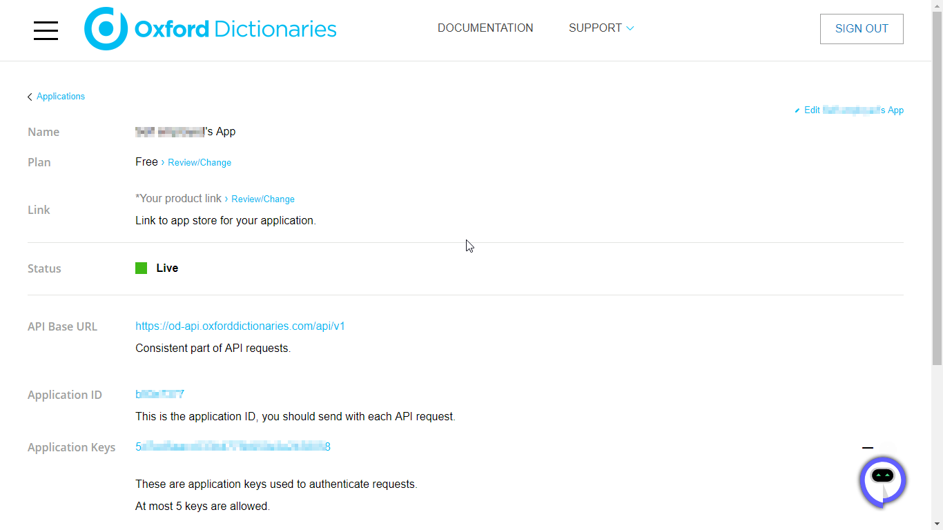 Oxford Dictionary API