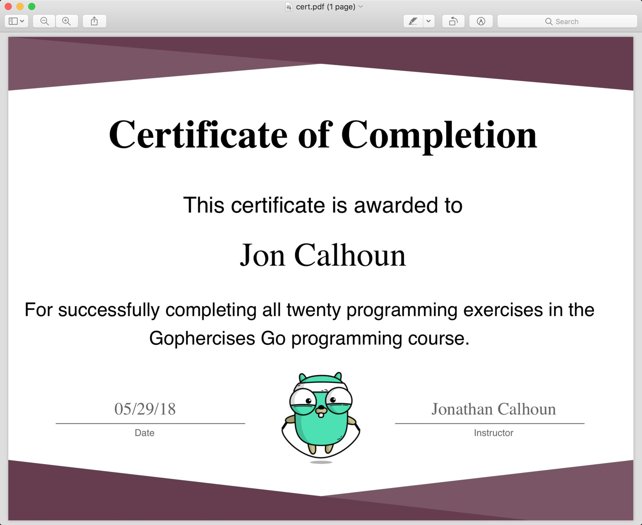 Screenshot of the course completion certificate PDF