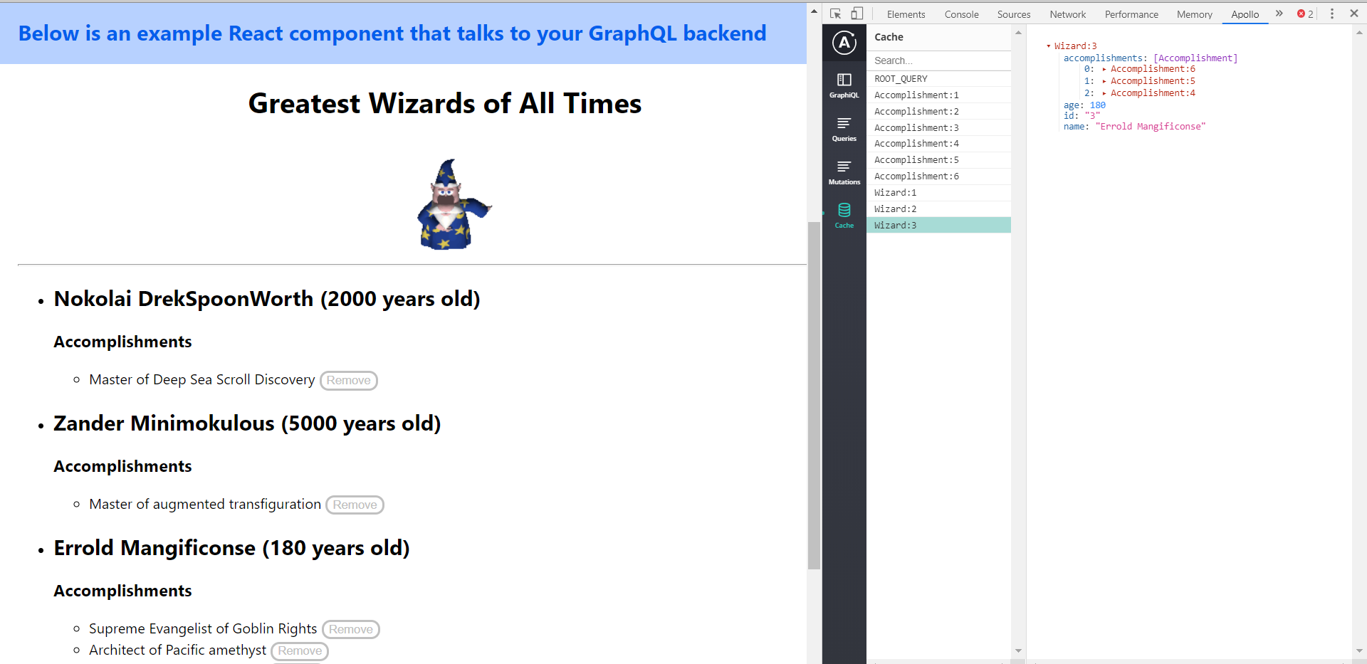Wizard Explorer Example Application