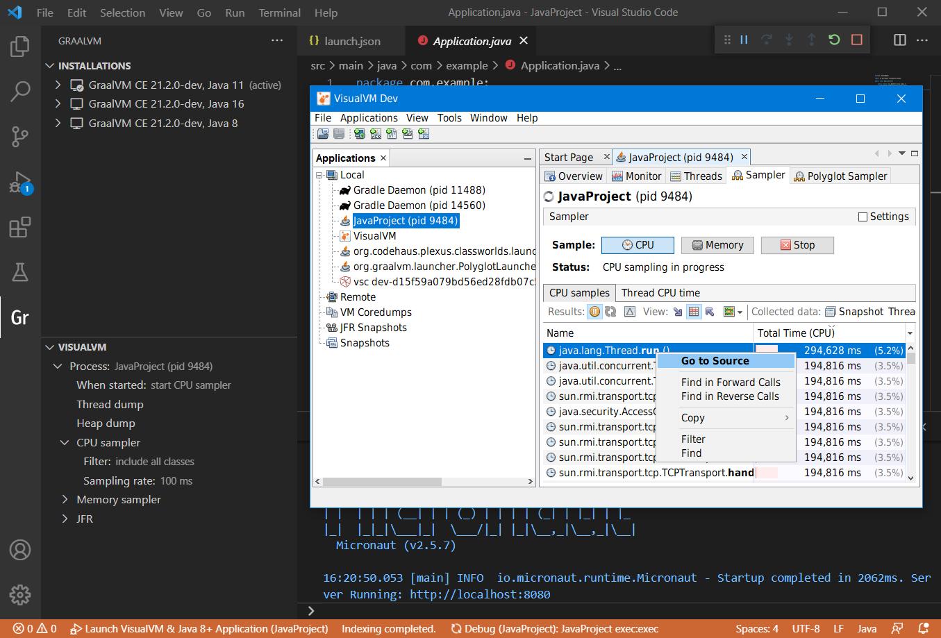 VisualVM and VS Code Integration