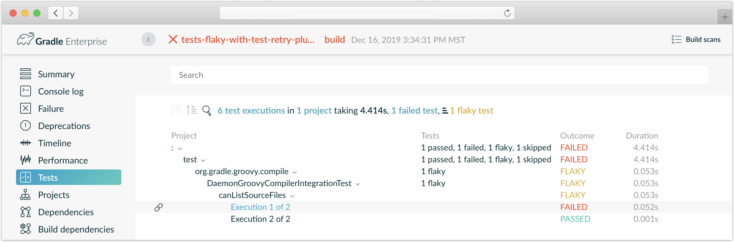 Gradle build scan reporting