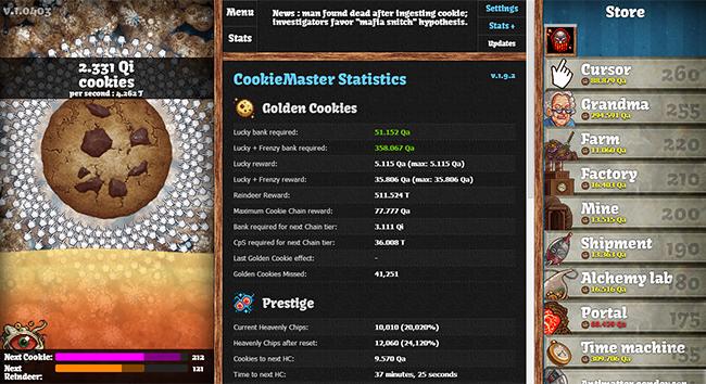 CookieMaster Statistics and main game window