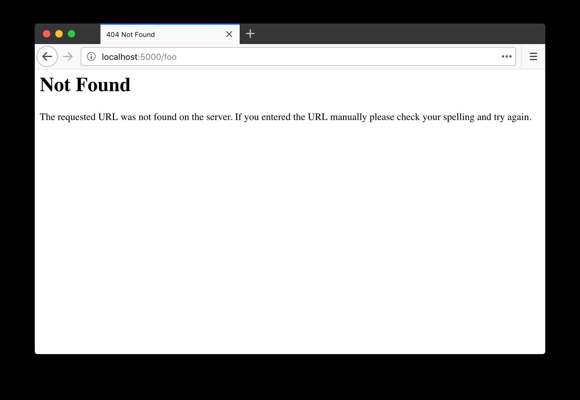默认的 404 错误页面