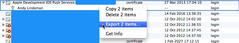 Exporting the certificate and private key