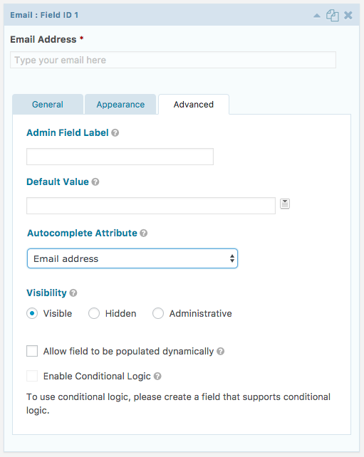 "Gravity Forms field settings with the ""Autocomplete Attribute"""